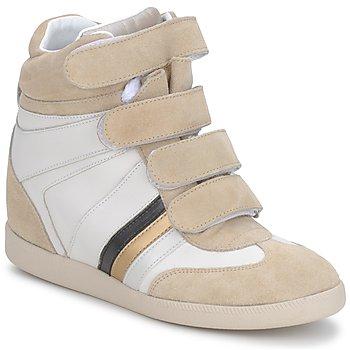 Chaussures Femme Baskets montantes Serafini MANATHAN SCRATCH WHITE-BEIGE-BLUE