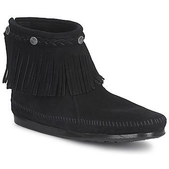 Chaussures Femme Boots Minnetonka HI TOP BACK ZIP BOOT Noir