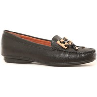 Chaussures Femme Mocassins Ilario Ferucci Mocassins en cuir Lilac noir Noir