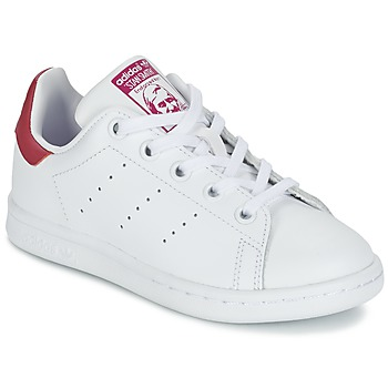 Chaussures Fille Baskets basses adidas Originals STAN SMITH EL C Blanc / Rose