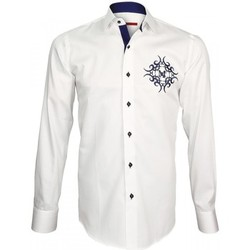 Vêtements Homme Chemises manches longues Andrew Mac Allister chemise brodee heraldic blanc Blanc