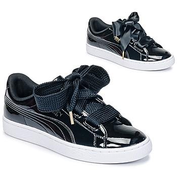Chaussures Femme Baskets basses Puma BASKET HEART PATENT WN'S Noir Verni
