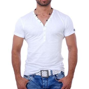 Vêtements Homme T-shirts & Polos Young & Rich T shirt blanc col v T shirt YR1444 blanc Blanc