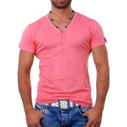 Vêtements Homme T-shirts & Polos Young & Rich T shirt blanc col v T shirt YR1444 rose Rose