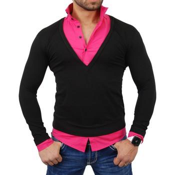 Vêtements Homme Pulls Tazzio Pull chemise homme Pull TZ724 Noir et rose Rose