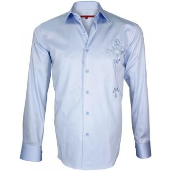 Vêtements Homme Chemises manches longues Andrew Mac Allister chemise brodee leeds bleu Bleu