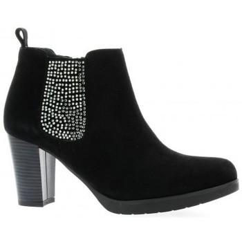 Chaussures Femme Bottines Reqins Boots cuir velours Noir