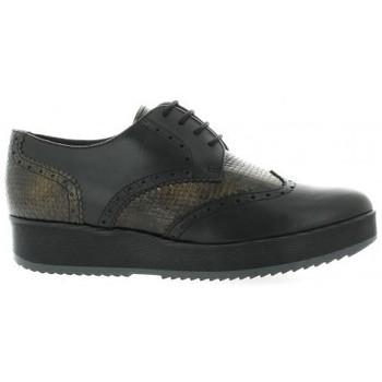 Chaussures Femme Derbies So Send Derby cuir serpent Noir
