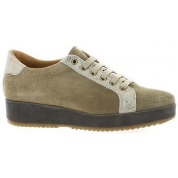 Chaussures Femme Derbies So Send Derby cuir velours Taupe