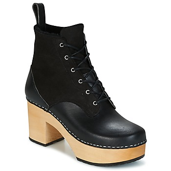 Chaussures Femme Bottines Swedish hasbeens HIPPIE LACE UP Noir