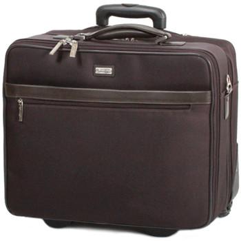 Sacs Homme Sacs de voyage Gerard Henon Trolley New Styl' nylon garni cuir de Vachette GH 2362B Marron