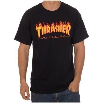 Vêtements Homme T-shirts manches courtes Thrasher CAMISETA  FLAME LOGO NEGRA HOMBR Noir