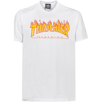 Vêtements Homme T-shirts manches courtes Thrasher CAMISETA  FLAME LOGO BLANCO HOMB Blanc