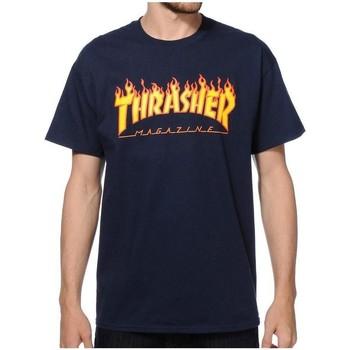 Vêtements Homme T-shirts manches courtes Thrasher CAMISETA  FLAME LOGO AZUL HOMBRE Blue