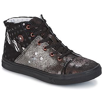 Chaussures Fille Boots Catimini ROUSSEROLLE Noir / Argent