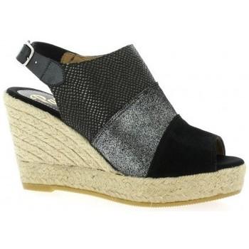 Chaussures Femme Espadrilles Pao Espadrille velours lamine Noir