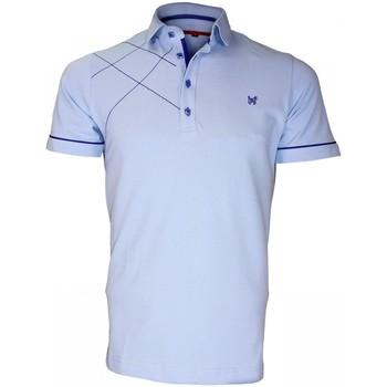 Vêtements Homme Polos manches courtes Andrew Mac Allister polo brode plymouth bleu Bleu