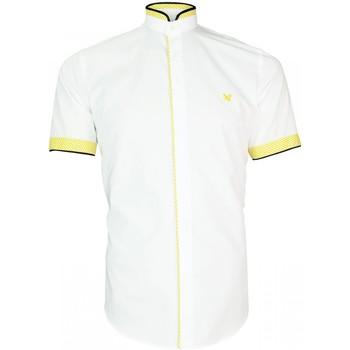 Vêtements Homme Chemises manches longues Andrew Mac Allister chemisette col mao luxley blanc Blanc