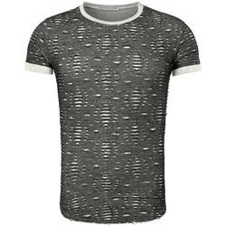 Vêtements Homme T-shirts manches courtes Young & Rich T shirt homme déchiré T-shirt 1603 gris foncé Gris