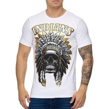 Vêtements Homme T-shirts manches courtes Violento T-shirt homme tete d'indien T-shirt 994 blanc doré Blanc