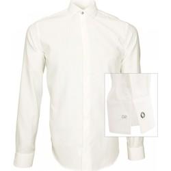 Vêtements Homme Chemises manches longues Andrew Mac Allister chemise tissu armure wembley blanc Blanc