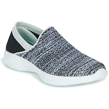 Chaussures Femme Slip ons Skechers YOU Noir / Blanc