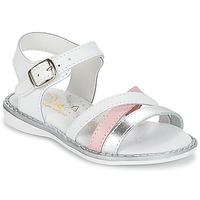Chaussures Fille Sandales et Nu-pieds Citrouille et Compagnie IZOEGL Blanc / Argent / Rose