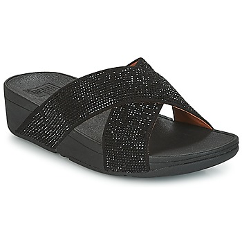 Chaussures Femme Mules FitFlop CRYSTAL II SLIDE SANDALS Noir