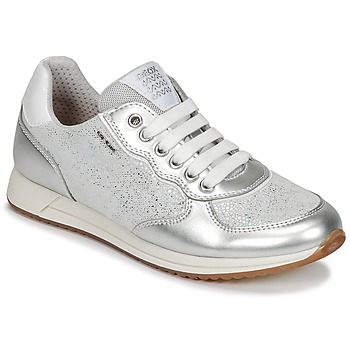 Chaussures Fille Baskets basses Geox J JENSEA G. D  Gris / Argenté