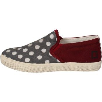 Chaussures Fille Slip ons Date chaussures fille D.A.T.E. (DATE) slip on bordeaux textile gris A rouge
