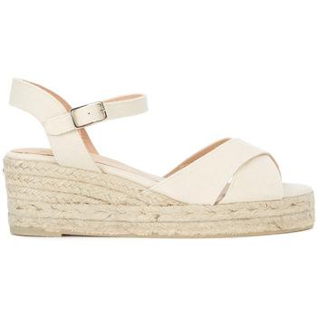 Chaussures Femme Sandales et Nu-pieds Castaner Sandale avec coin  Blaudell en jute et toile beige clair Blanc