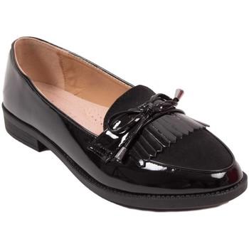 Chaussures Femme Mocassins Primtex Mocassins  vernis noir ou gris à franges bouts pointus semelle i Noir