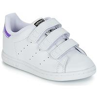 Chaussures Fille Baskets basses adidas Originals STAN SMITH CF I Blanc / Argenté