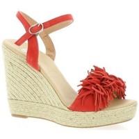 Chaussures Femme Espadrilles Pao Espadrille cuir velours  cail Corail
