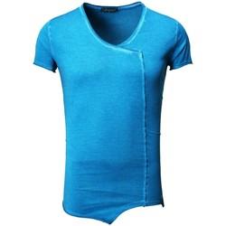 Vêtements Homme T-shirts & Polos Monsieurmode T-shirt fashion oversize T-shirt 122 bleu petrole Bleu