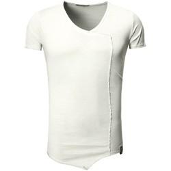 Vêtements Homme T-shirts & Polos Monsieurmode T-shirt asymétrique fashion T-shirt T22 gris clair Gris