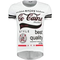 Vêtements Homme T-shirts & Polos Monsieurmode T-shirt imprimé fashion homme T-shirt 512029 blanc Blanc