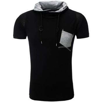 Vêtements Homme T-shirts & Polos Monsieurmode T-shirt fashion pour homme T-shirt M108 noir Noir