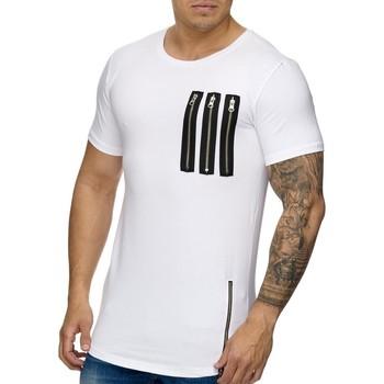 Vêtements Homme T-shirts & Polos Monsieurmode T-shirt fashion oversize T-shirt M948 blanc Blanc