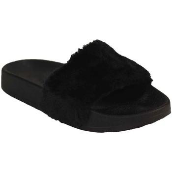 Chaussures Femme Mules Primtex Claquette fourrée  rose ou noir type mule fourrure synthétique Noir