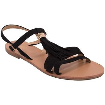 Chaussures Femme Sandales et Nu-pieds Primtex Sandales  à franges noir en simili daim et dorure semelle cuir Noir