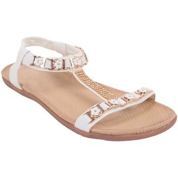Chaussures Femme Sandales et Nu-pieds Primtex Sandale blanche strass  grande taille 41, 42, 43 et 44 à motif f Blanc