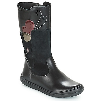 Chaussures Fille Bottes ville Geox J HADRIEL Noir