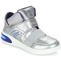 Chaussures Fille Baskets montantes Geox J XLED GIRL Argenté