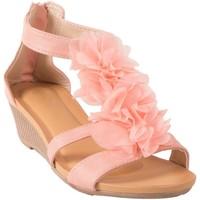 Chaussures Femme Sandales et Nu-pieds Primtex Sandales  compensées petit talon à fleurs à fermeture zip chevil Rose