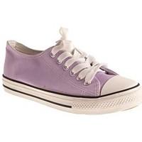 Chaussures Femme Baskets basses Primtex Basket tennis  en toile semelle caoutchouc blanc Violet